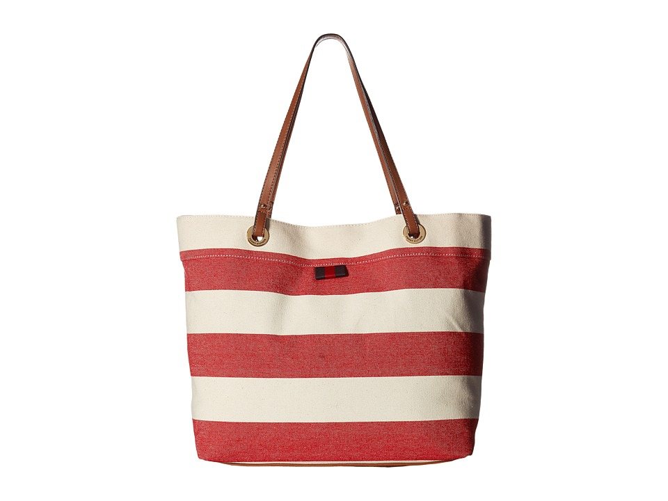 Tommy Hilfiger - TH Grommet II Large Tote Woven Rugby (Red/Natural) Tote Handbags