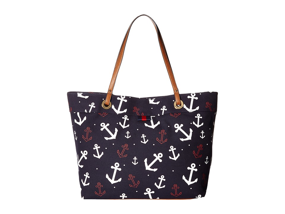 Tommy Hilfiger - TH Grommet II Large Tote (Navy/White) Tote Handbags