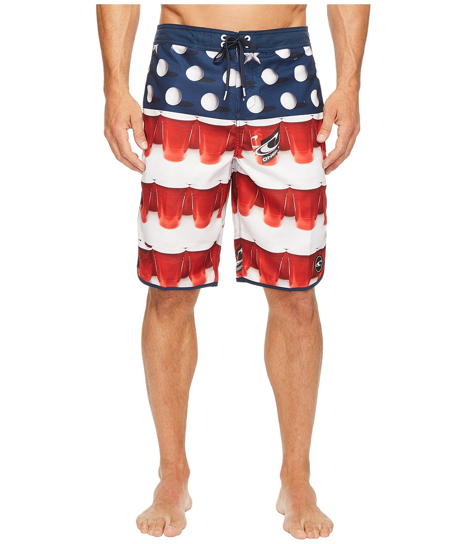 O'Neill - Beerpong Scallop 24-7 Boardshorts (Red/White/Blue) Men's Swimwear