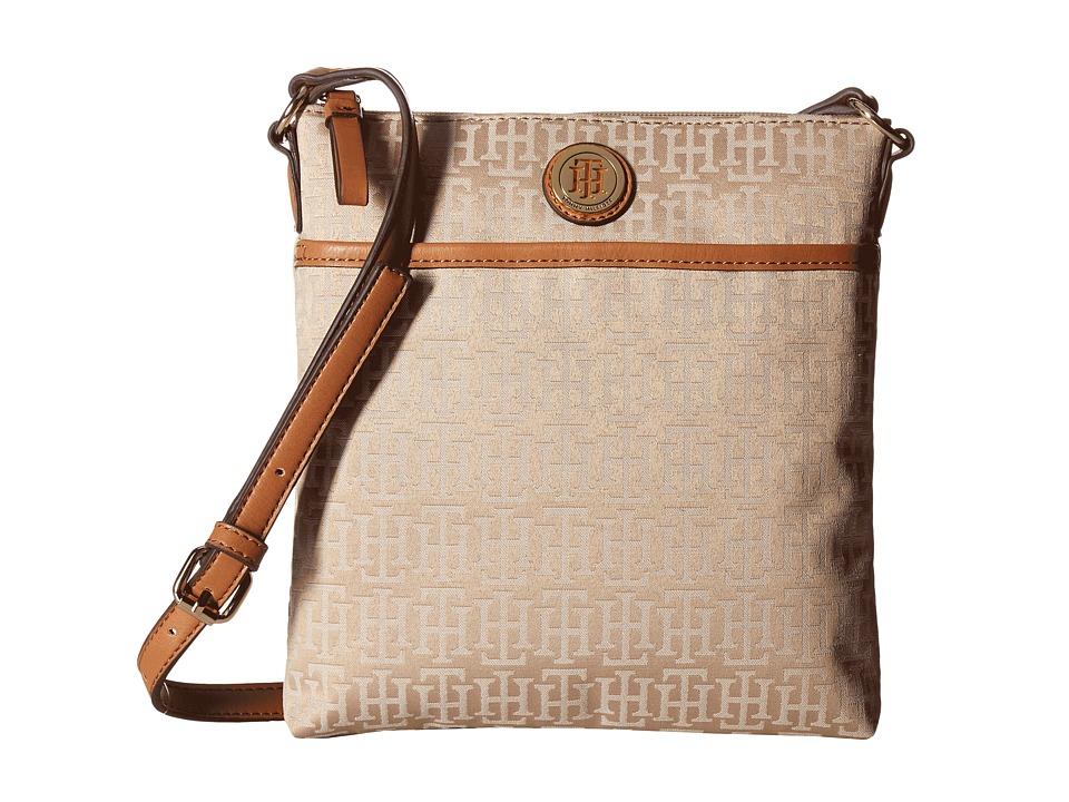 Tommy Hilfiger - Alena North/South Crossbody Monogram Jacquard (Khaki Tonal) Cross Body Handbags