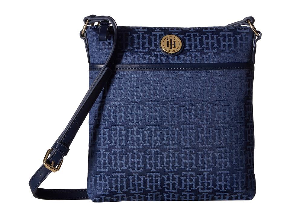 Tommy Hilfiger - Alena North/South Crossbody Monogram Jacquard (Navy/Lapis) Cross Body Handbags