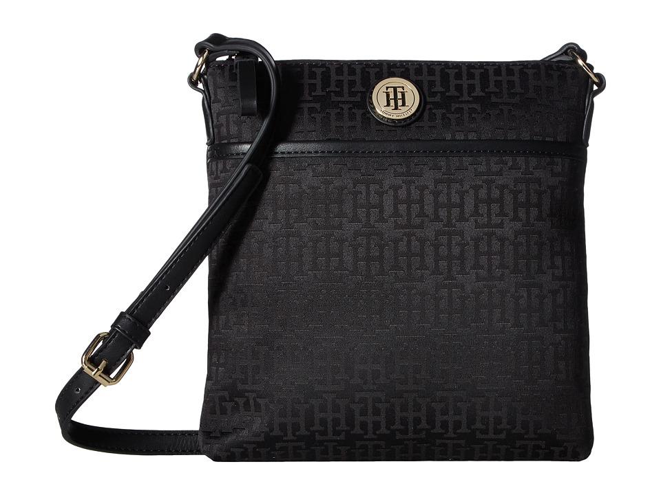 Tommy Hilfiger - Alena North/South Crossbody Monogram Jacquard (Black Tonal) Cross Body Handbags
