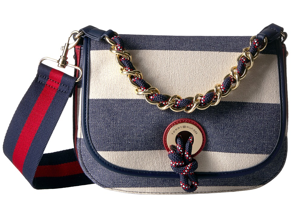 Tommy Hilfiger - Belen Flap Crossbody Woven Rugby Stripe (Navy/Natural) Cross Body Handbags
