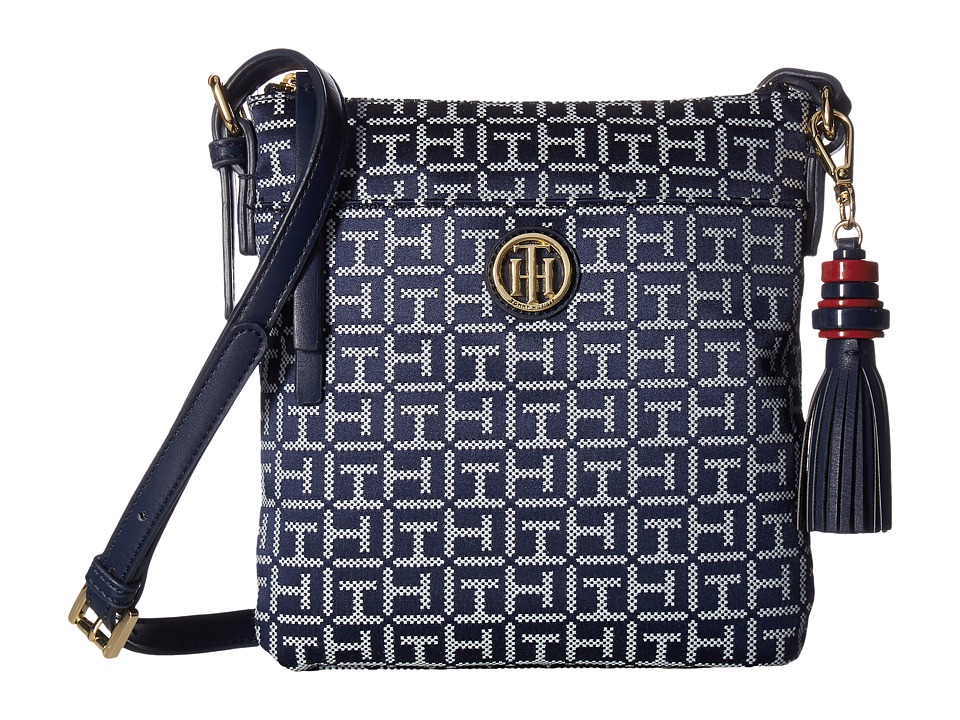Tommy Hilfiger - Summer of Love North/South Crossbody Jacquard (Navy/White) Cross Body Handbags
