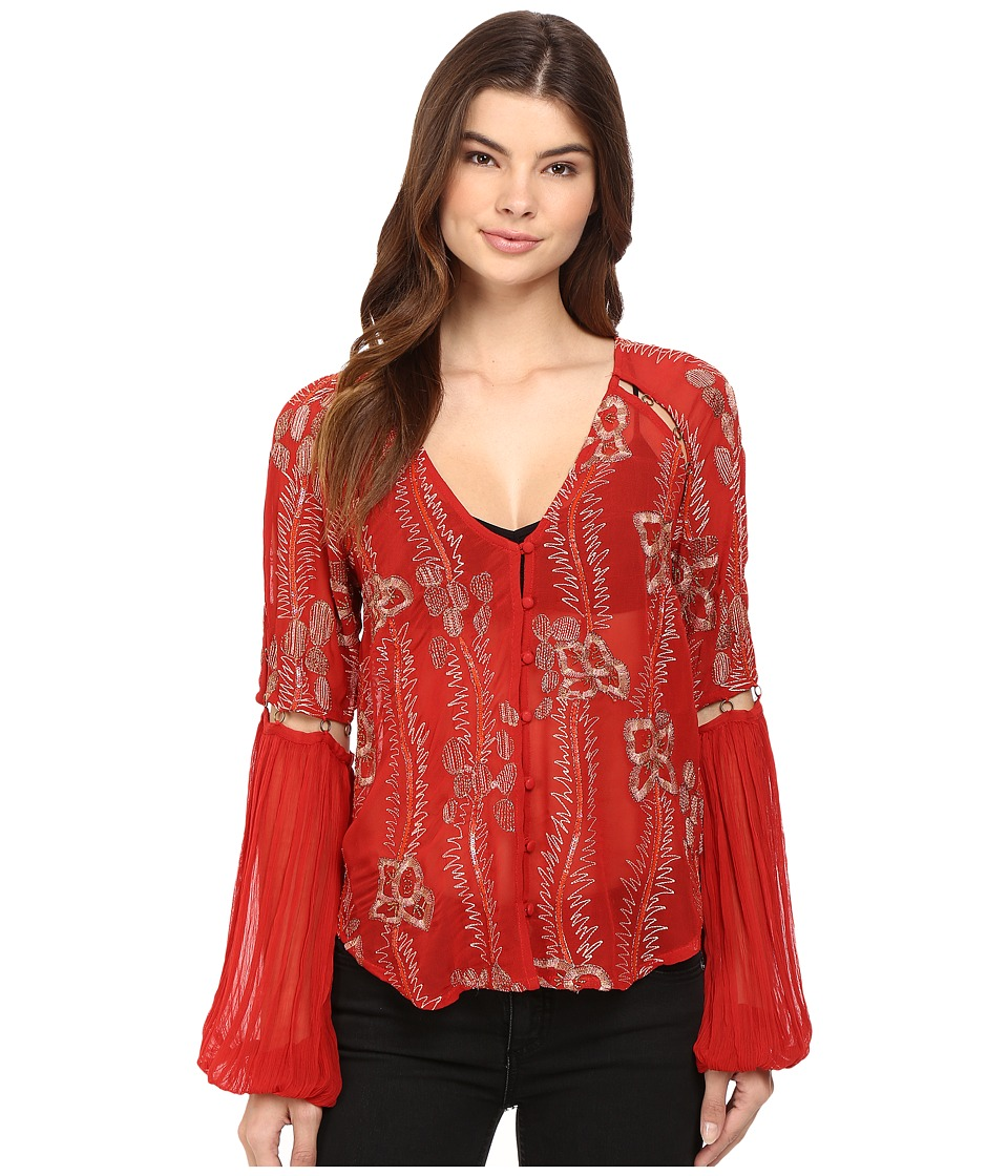 Free People - Viscose Gorgette Firecracker Embellished Top (Red) Women's Long Sleeve Button Up