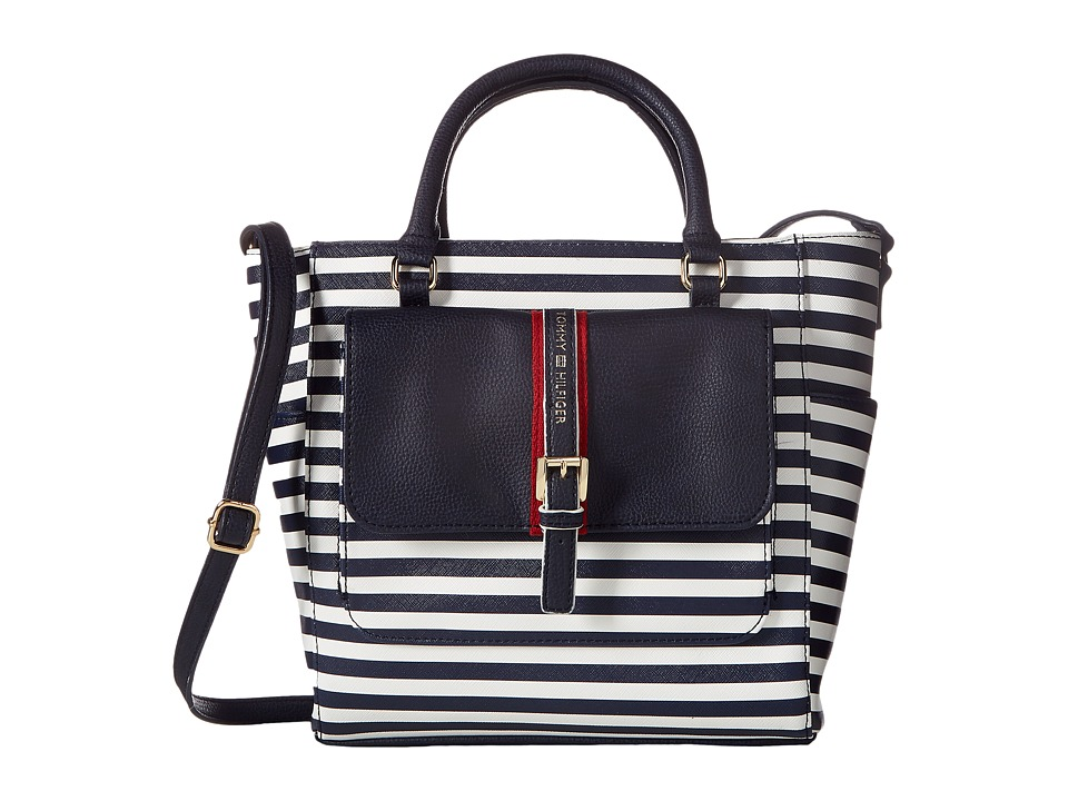 Tommy Hilfiger - Claire II Convertible Shopper (Navy/Cream) Convertible Handbags