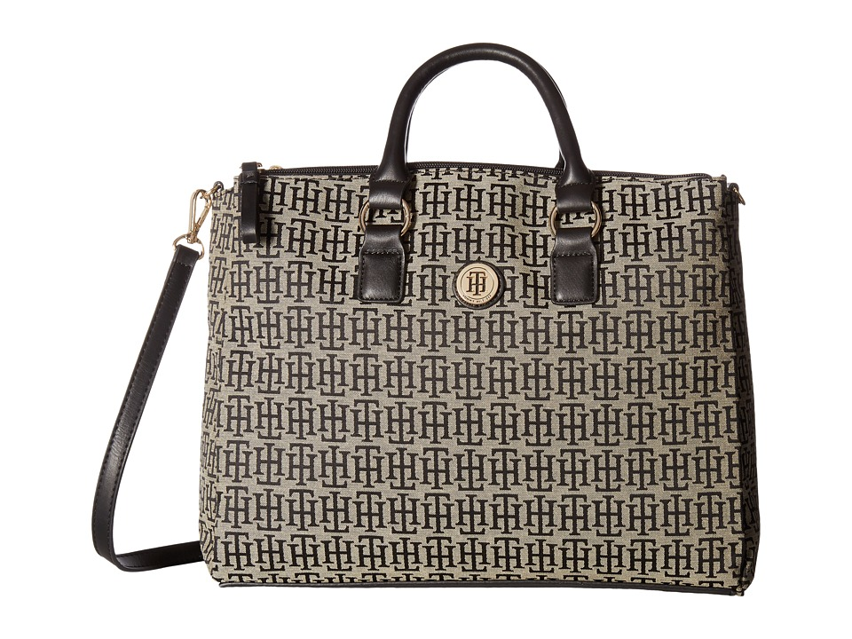 Tommy Hilfiger - Alena Convertible Shopper Mono Jacquard (Black Alpaca) Convertible Handbags