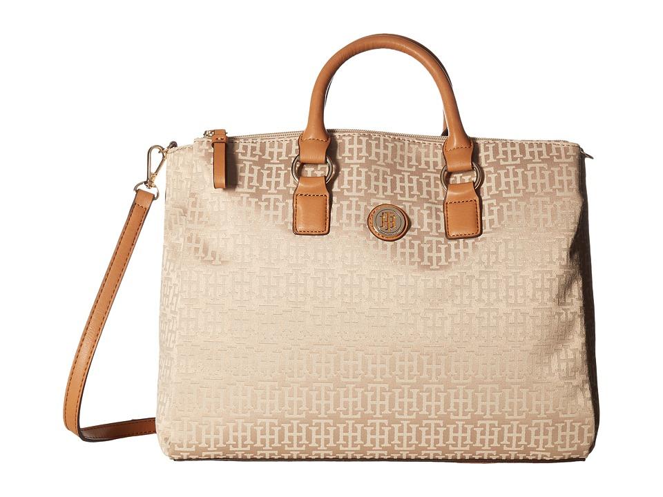 Tommy Hilfiger - Alena Convertible Shopper Mono Jacquard (Khaki Tonal) Convertible Handbags