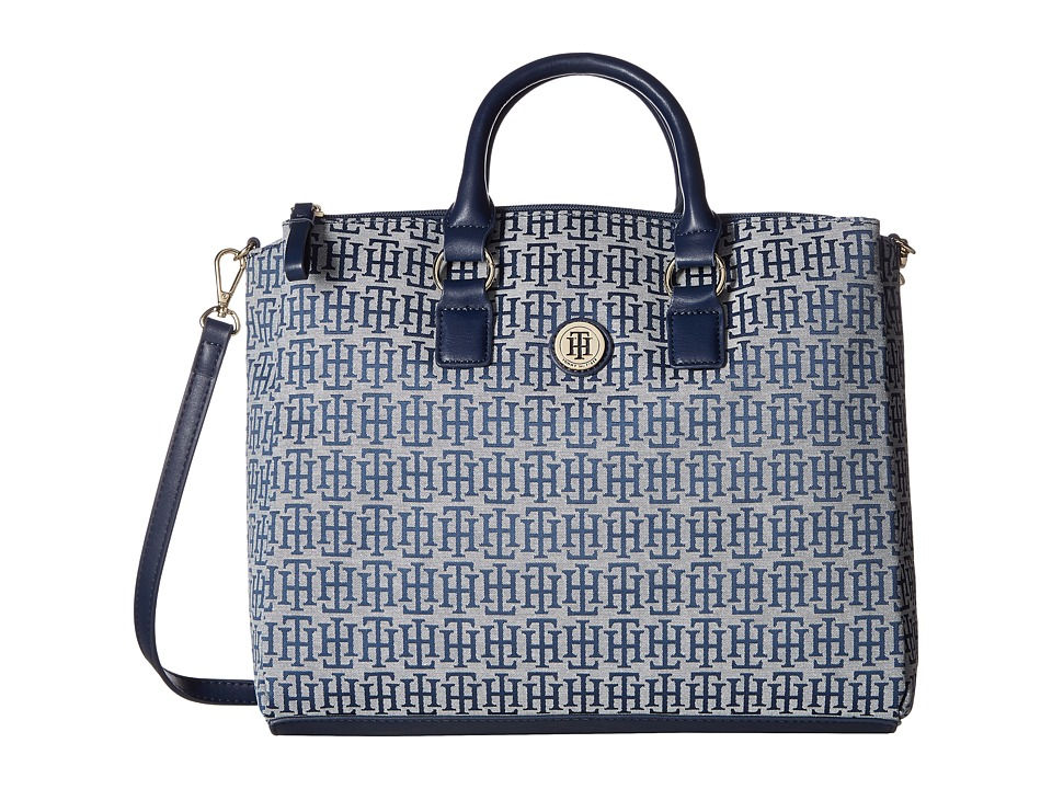 Tommy Hilfiger - Alena Convertible Shopper Mono Jacquard (Navy/White) Convertible Handbags