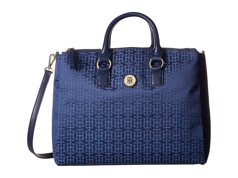 Tommy Hilfiger - Alena Convertible Shopper Mono Jacquard (Navy/Lapis) Convertible Handbags
