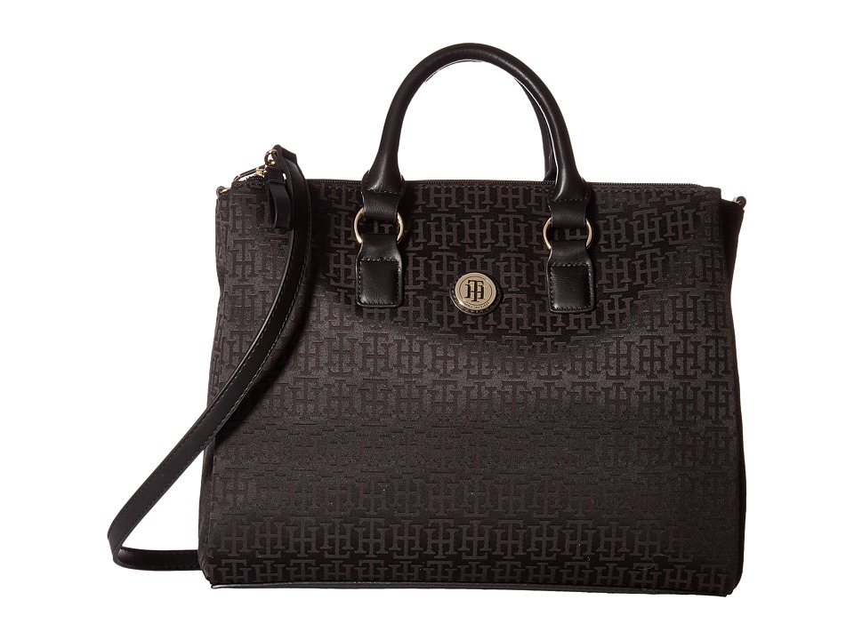 Tommy Hilfiger - Alena Convertible Shopper Mono Jacquard (Black Tonal) Convertible Handbags