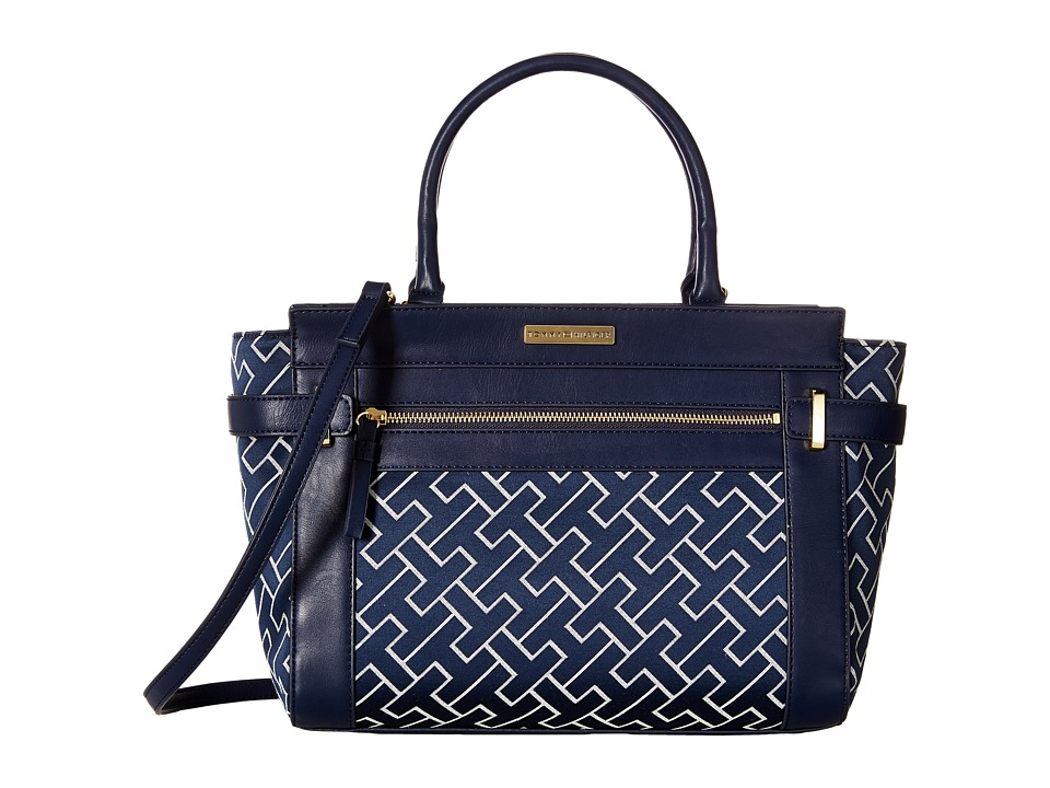 Tommy Hilfiger - Claudia Convertible Shopper (Navy/White) Convertible Handbags