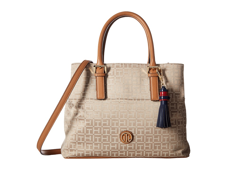 Tommy Hilfiger - Summer of Love Convertible Shopper Jacquard (Khaki Tonal) Convertible Handbags
