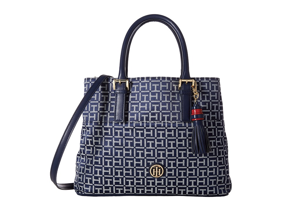 Tommy Hilfiger - Summer of Love Convertible Shopper Jacquard (Navy/White) Convertible Handbags