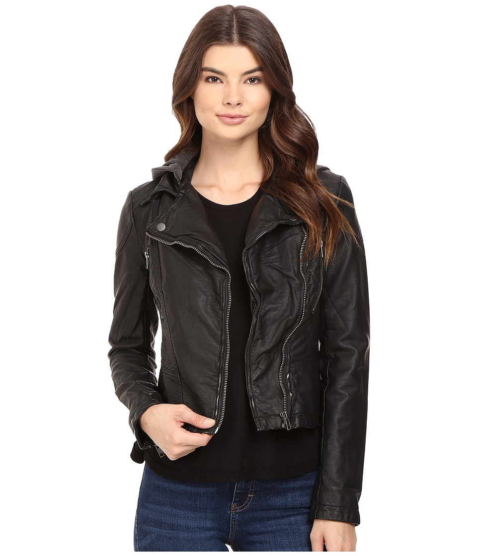 Free People - Vegan Hooded Moto Jacket (Black) Women's Coat