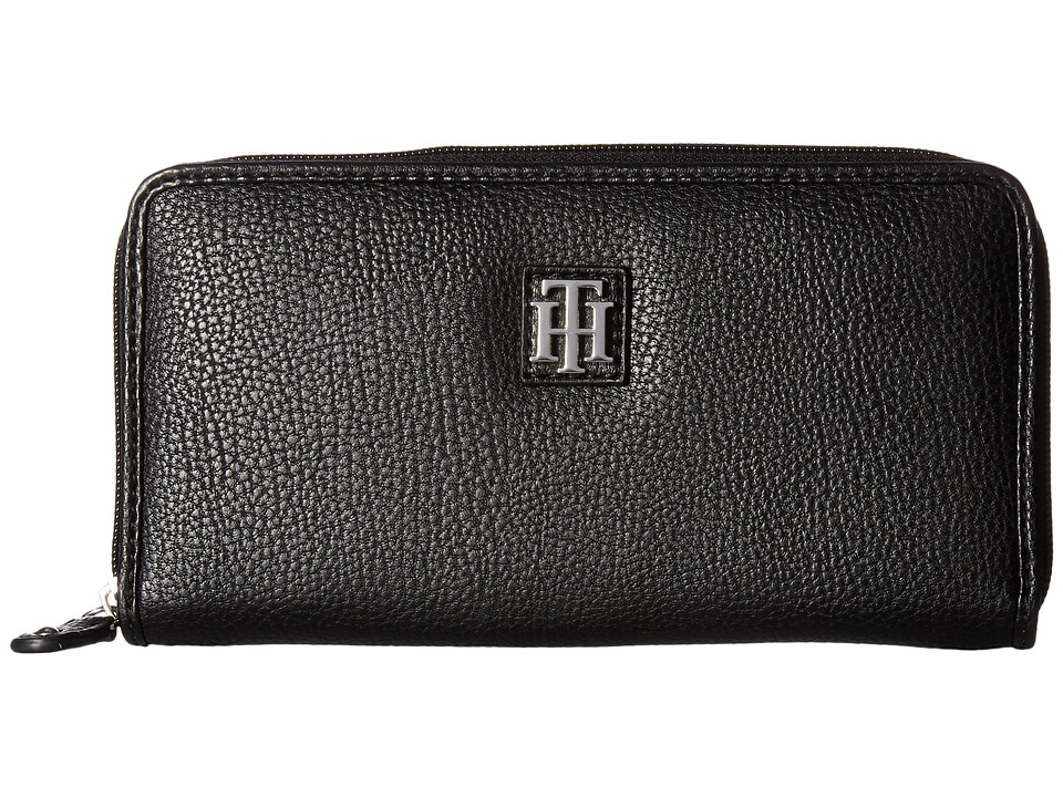 Tommy Hilfiger - Th Serif Zip Around Wallet (Black) Wallet Handbags