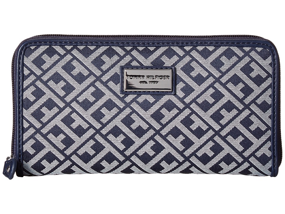 Tommy Hilfiger - Core Wallets Zip Around Signature (Navy/White) Wallet Handbags