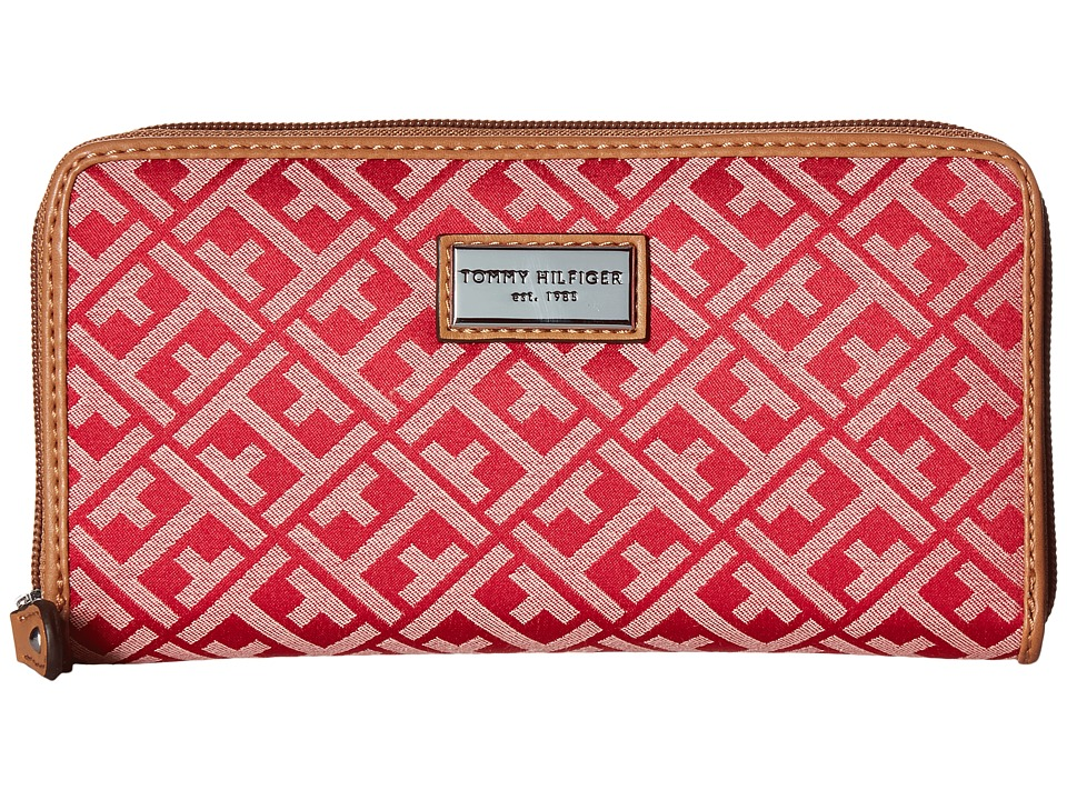 Tommy Hilfiger - Core Wallets Zip Around Signature (Rose/Blush) Wallet Handbags