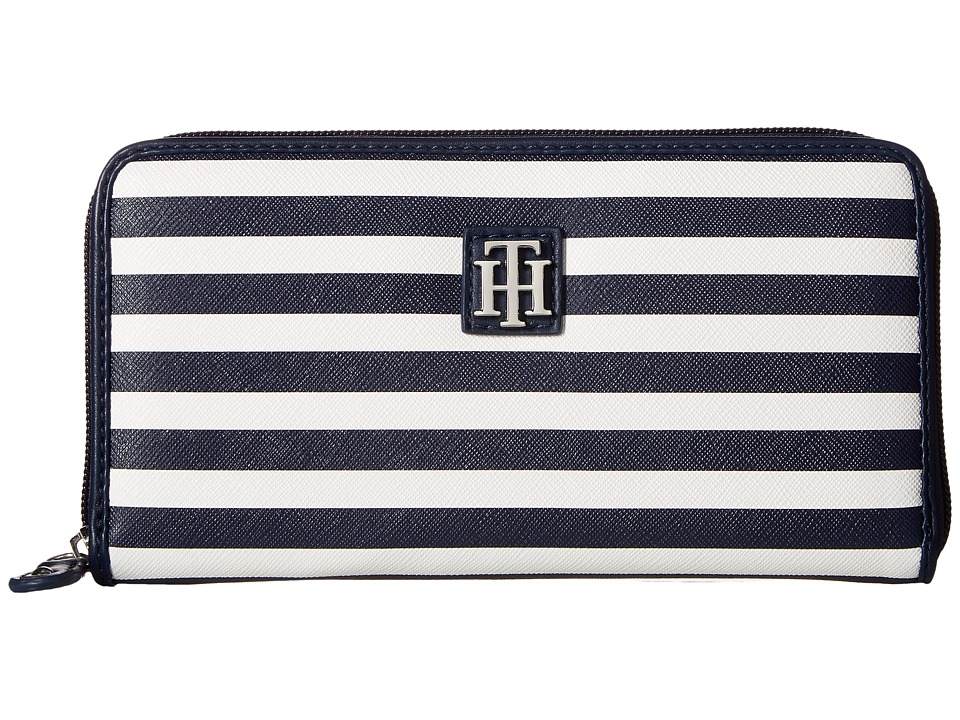 Tommy Hilfiger - Th Serif Zip Around Wallet (Navy/Cream) Wallet Handbags