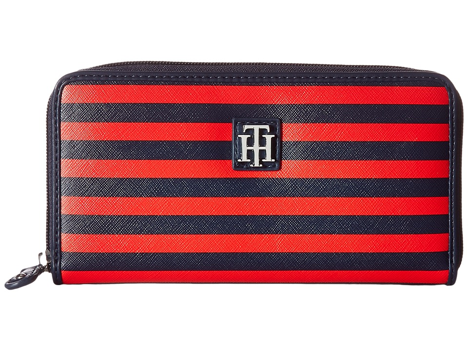 Tommy Hilfiger - Th Serif Zip Around Wallet (Navy/Fiery Red) Wallet Handbags