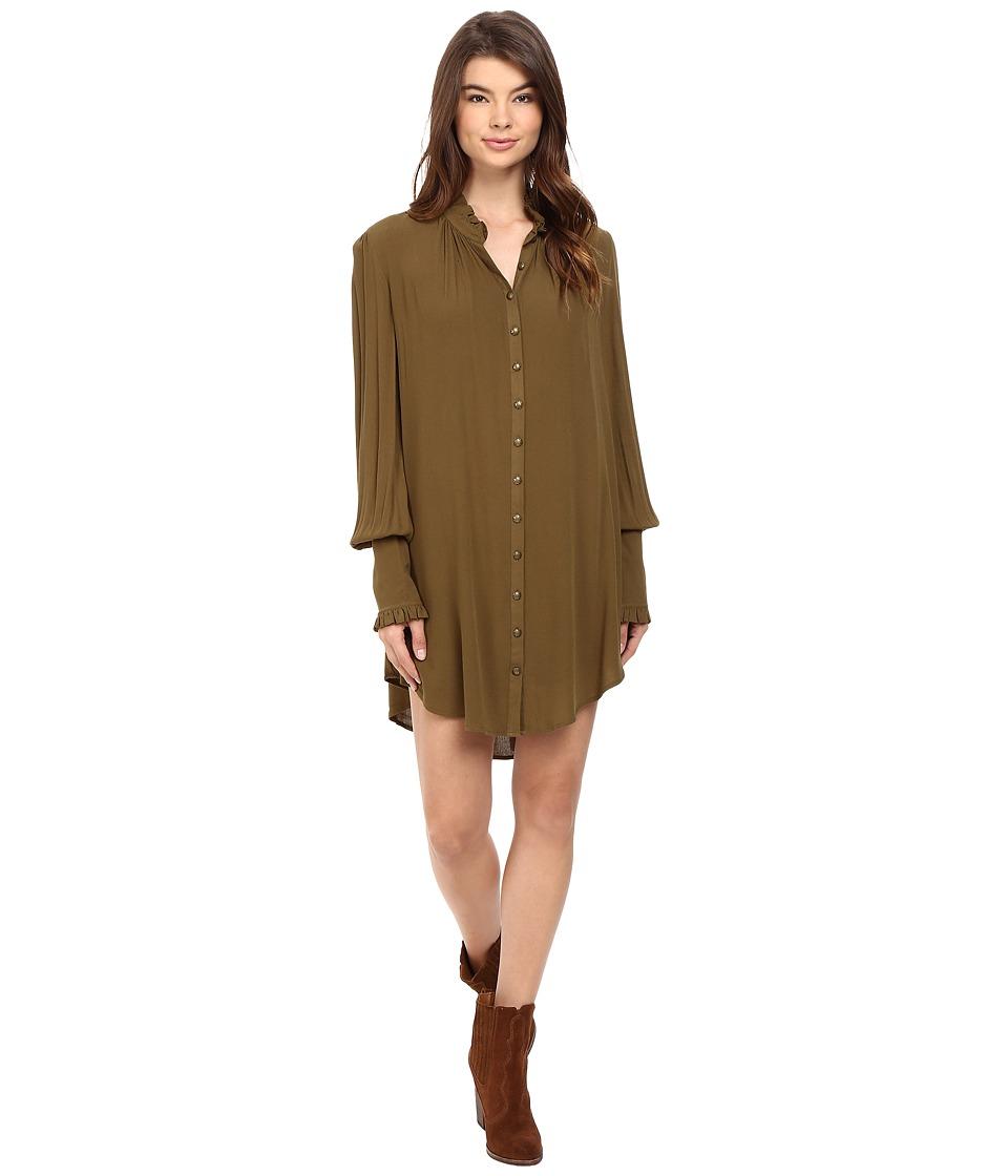 Free People - Lieutenant Shirtdress Mini (Olive) Women's Dress