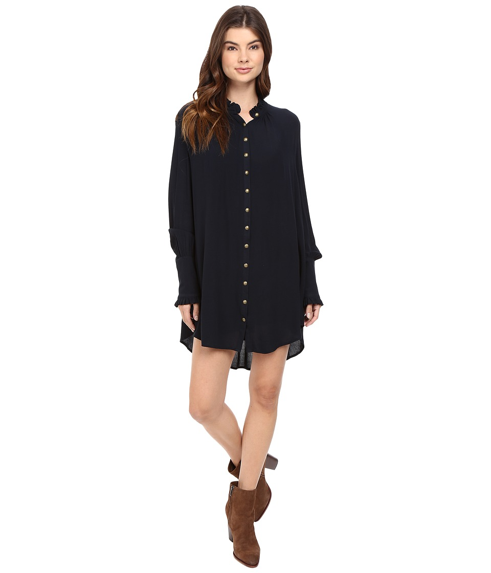 Free People - Lieutenant Shirtdress Mini (Black) Women's Dress
