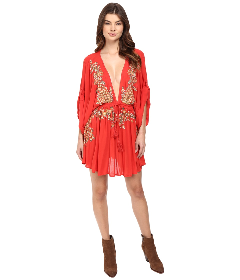 Free People - Pretty Pineapple Embroidered Dress (Red) Women's Dress