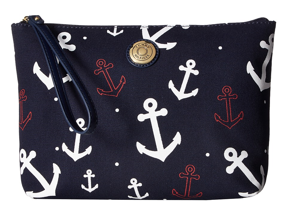 Tommy Hilfiger - Clutch Me II Large Wristlet (Navy/White) Wristlet Handbags