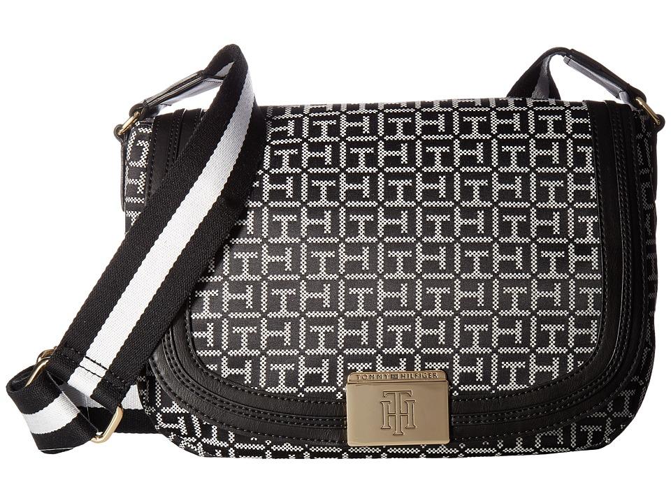 Tommy Hilfiger - Violet Saddle Monogram Jacquard (Black/White) Bags