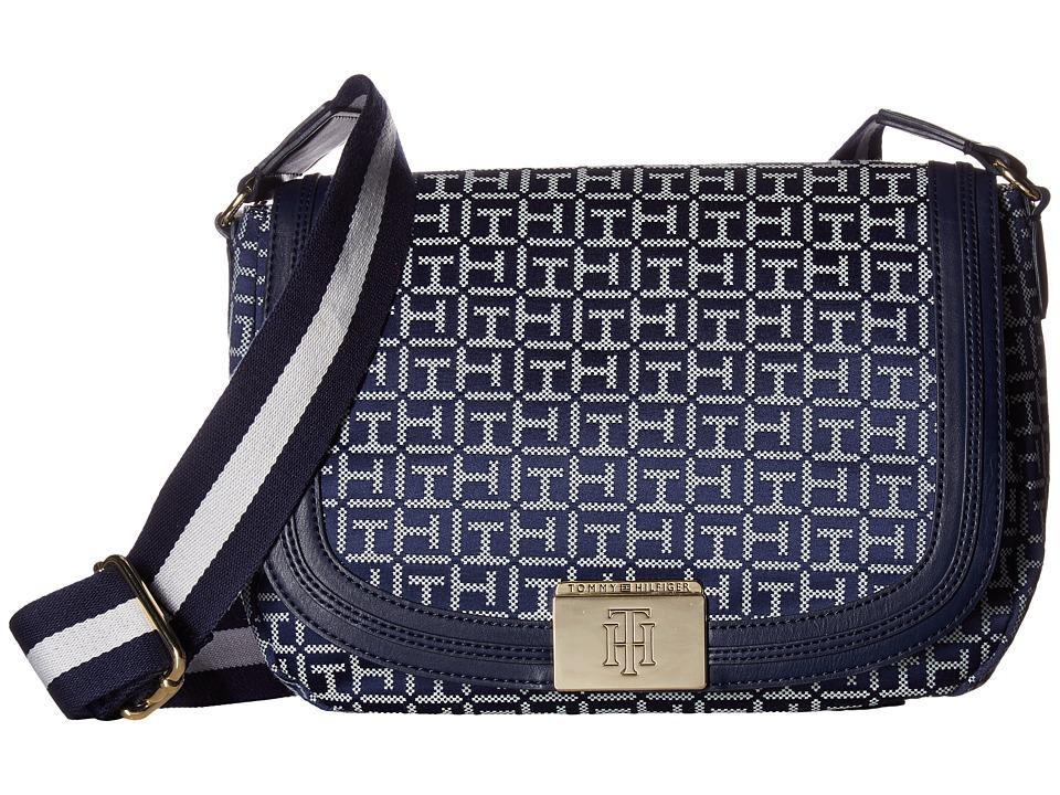 Tommy Hilfiger - Violet Saddle Monogram Jacquard (Navy/White) Bags