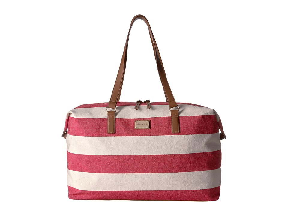 Tommy Hilfiger - Weekender Item II Rugby Canvas (Red/Natural) Duffel Bags
