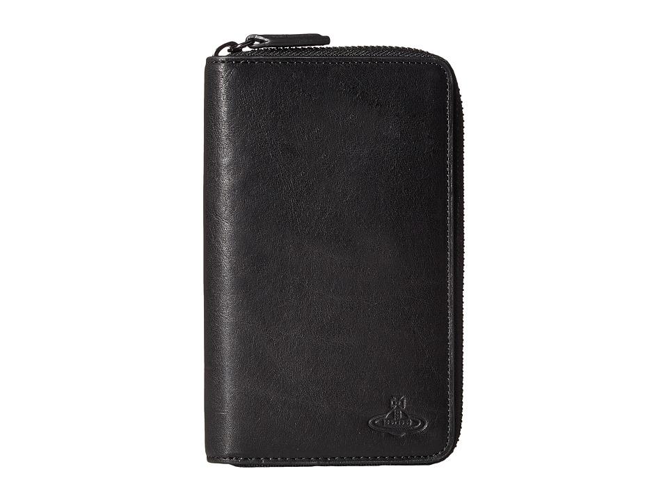 Vivienne Westwood - Flat Zip Around Wallet (Black) Wallet Handbags