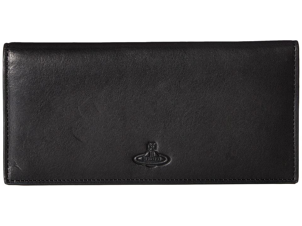 Vivienne Westwood - Flat Long Wallet (Black) Wallet Handbags