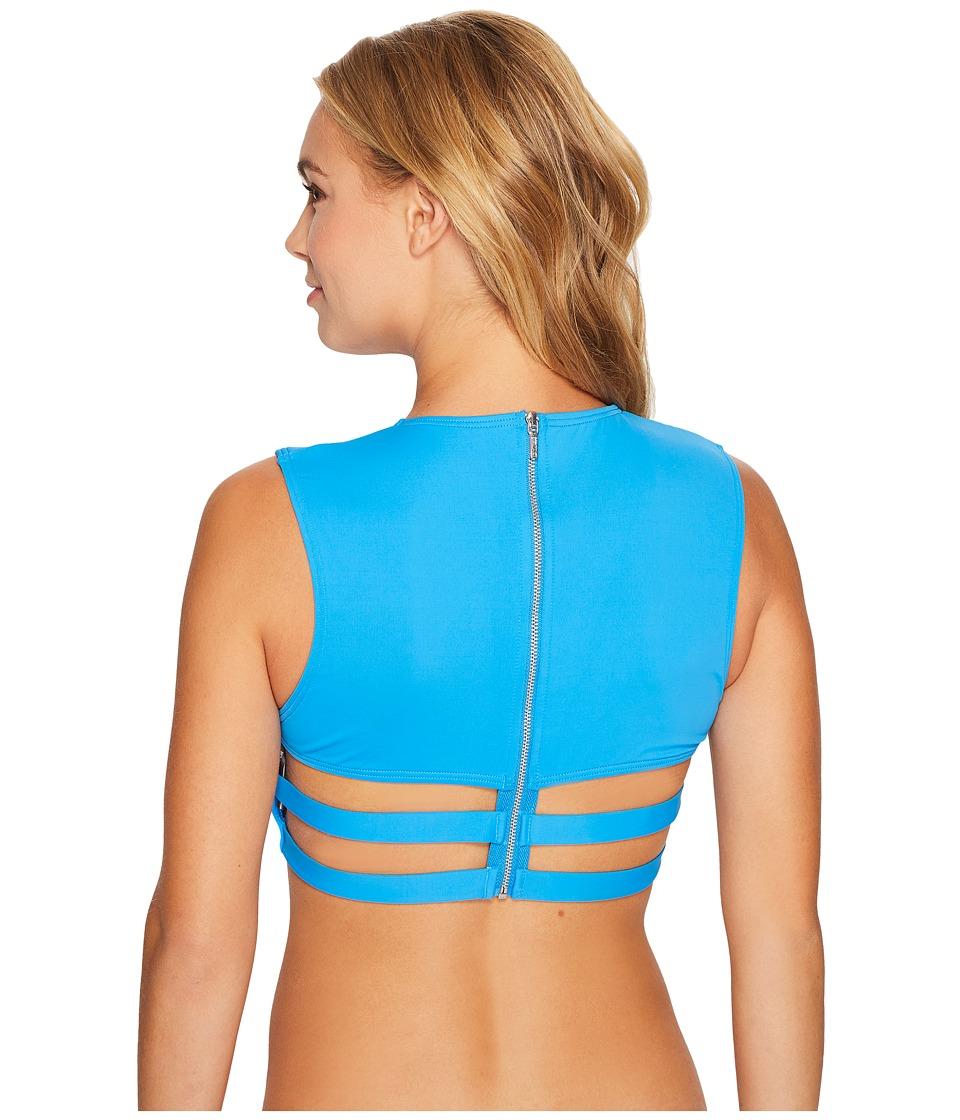 Vince Camuto - Fiji Solids Strappy Cropped Bikini Top (Misty Blue) Women's Swimwear