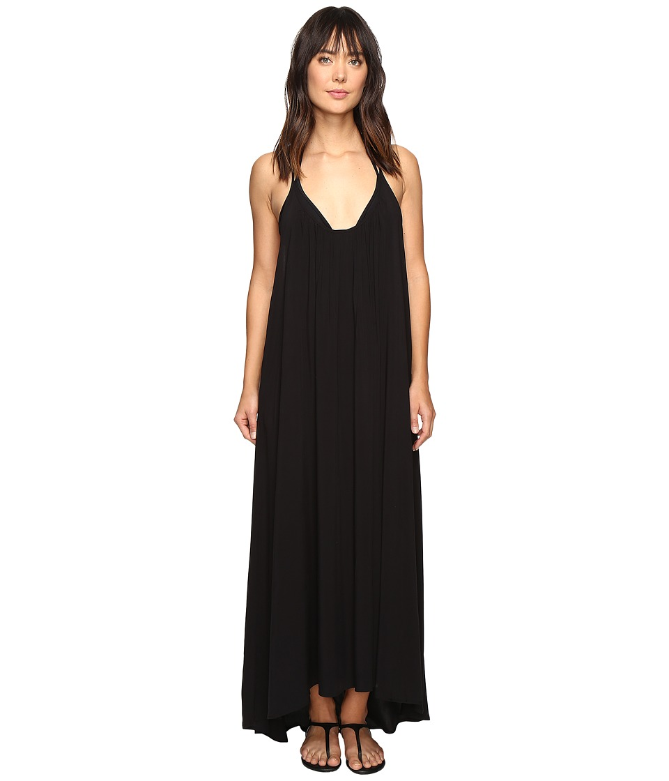 Vince Camuto Fiji Solids Racerback Maxi Dress Cover-Up Black Swimwear