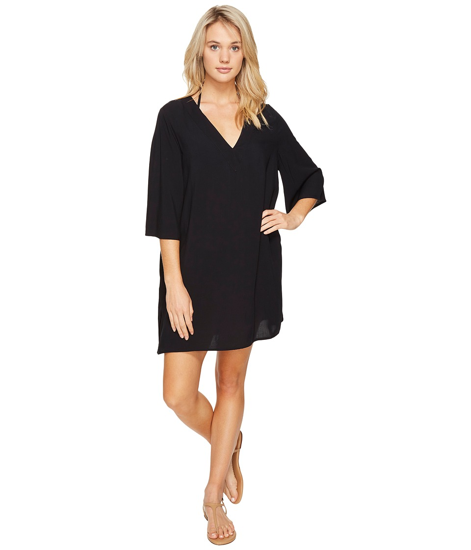 Vince Camuto Fiji Solids V-Neck Caftan Tunic Cover-Up (Black) Women