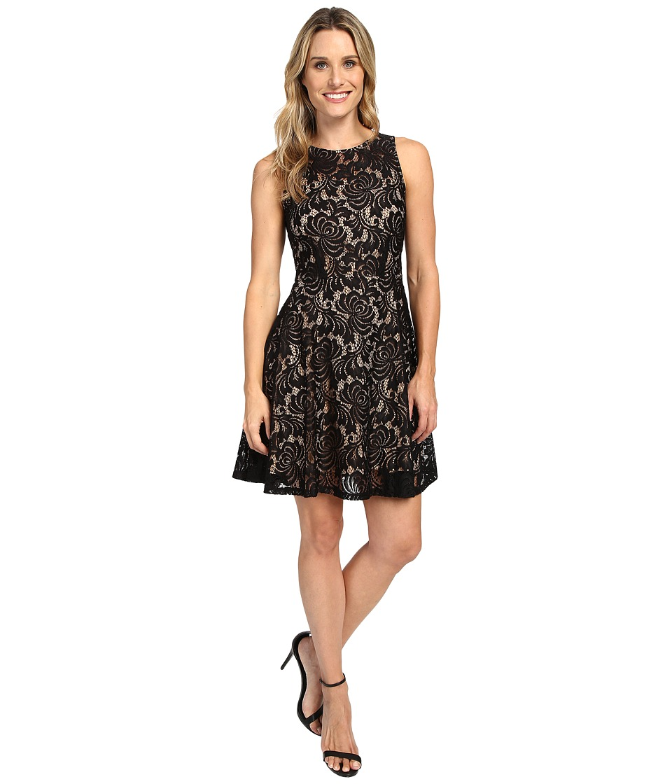 Karen Kane - Fit and Flare Lace Dress (Black/Nude) Women's Dress