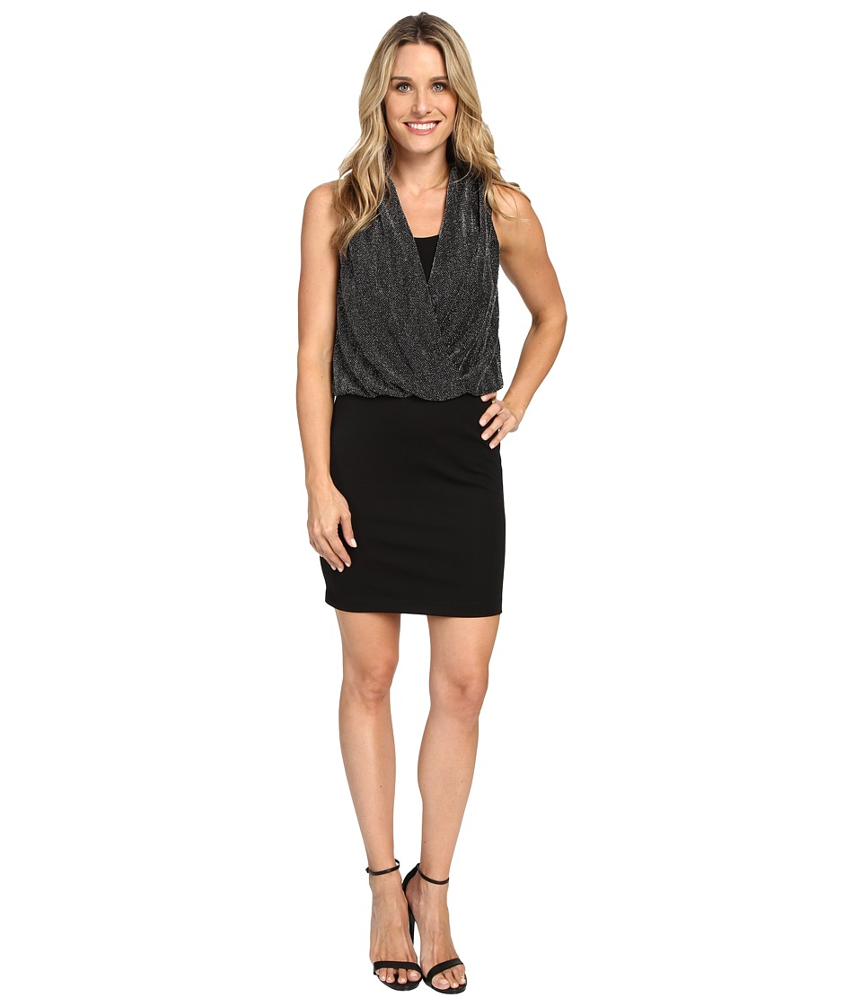 Karen Kane - Drape Front Dress (Black/Silver) Women's Dress