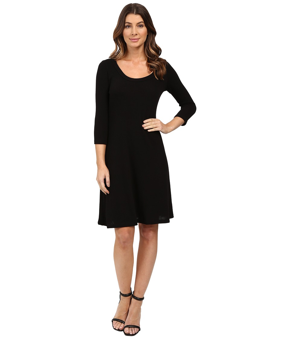 Karen Kane - 3/4 Sleeve Sweater Dress (Black) Women's Dress