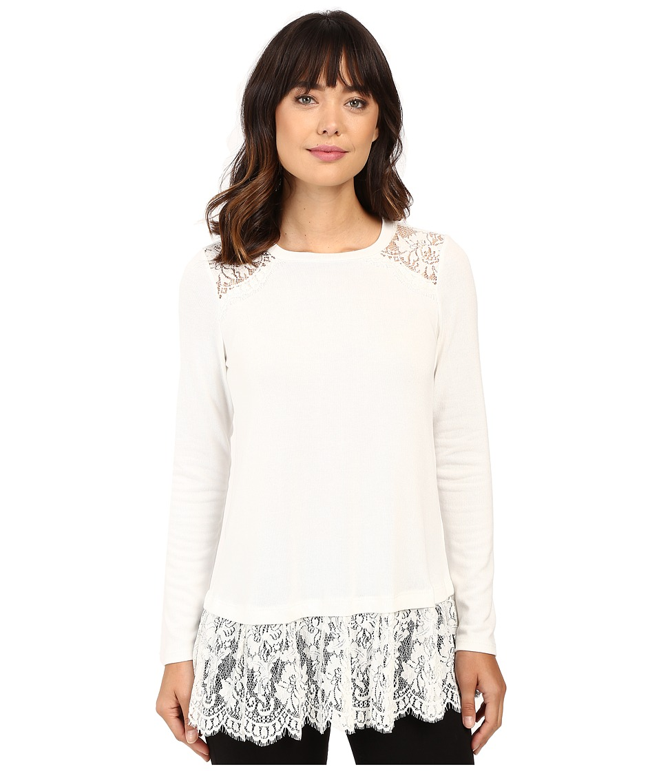 Karen Kane - Lace Yoke Inset Sweater (Cream) Women's Sweater