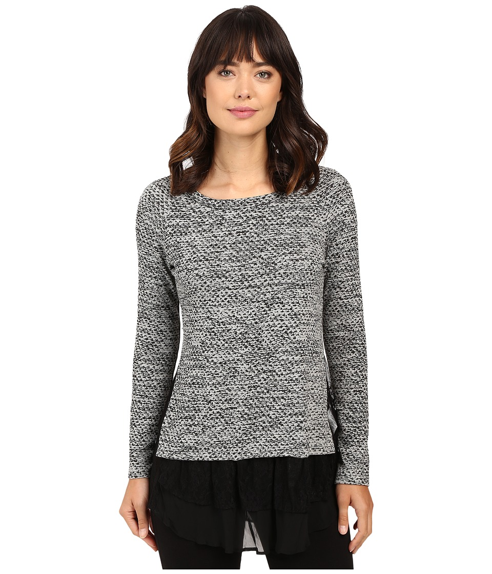 Karen Kane - Lace Inset Sweater (Light Heather Grey) Women's Long Sleeve Pullover