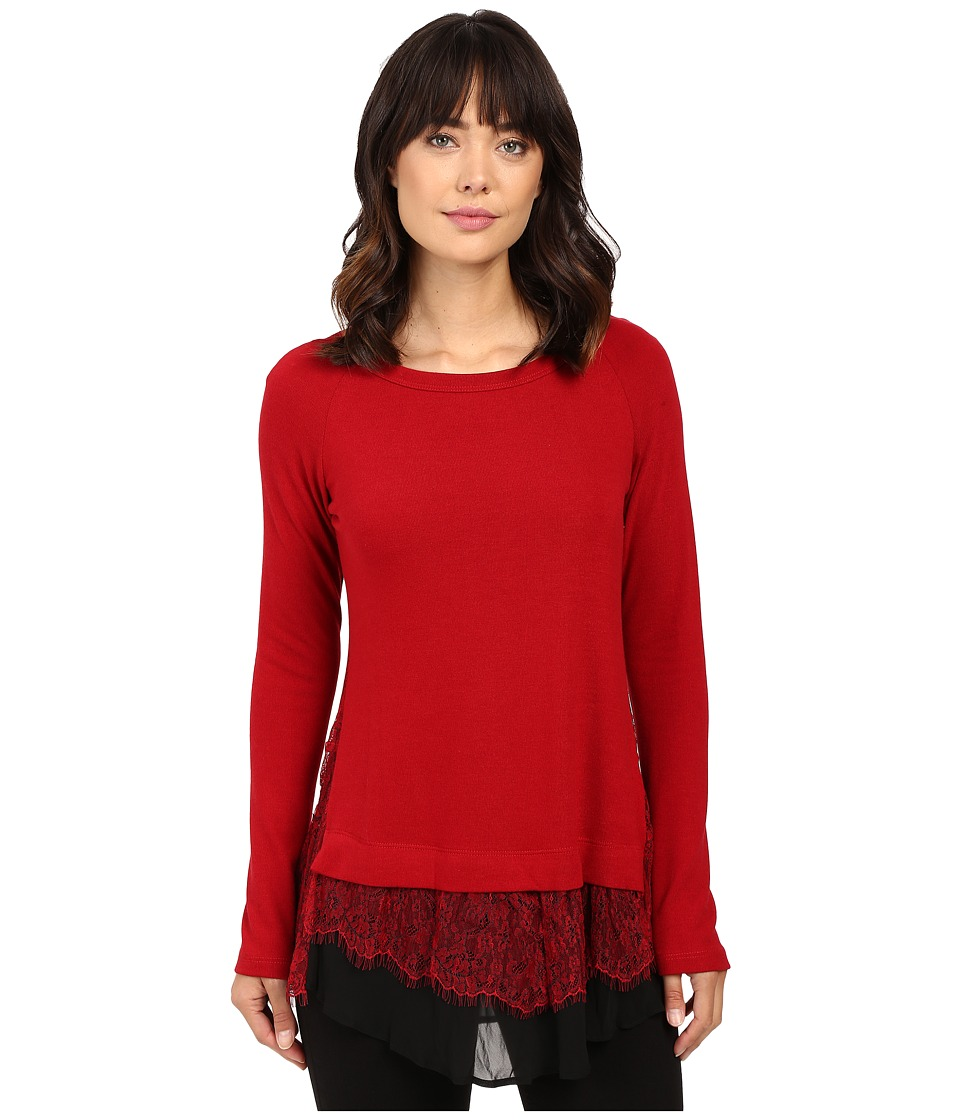 Karen Kane - Lace Inset Sweater (Red/Black) Women's Sweater