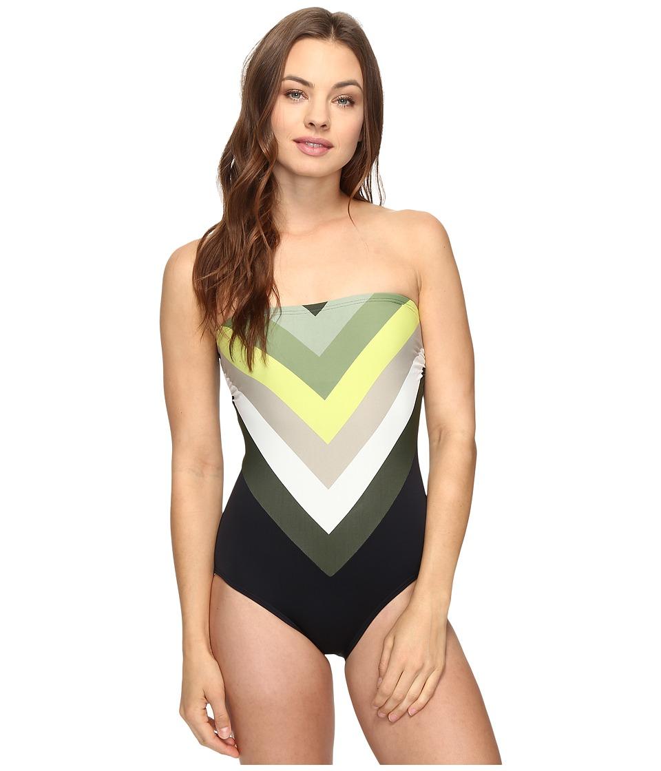 Vince Camuto - Camellia Stripe Lace Back Bandeau One-Piece (Black) Women's Swimsuits One Piece