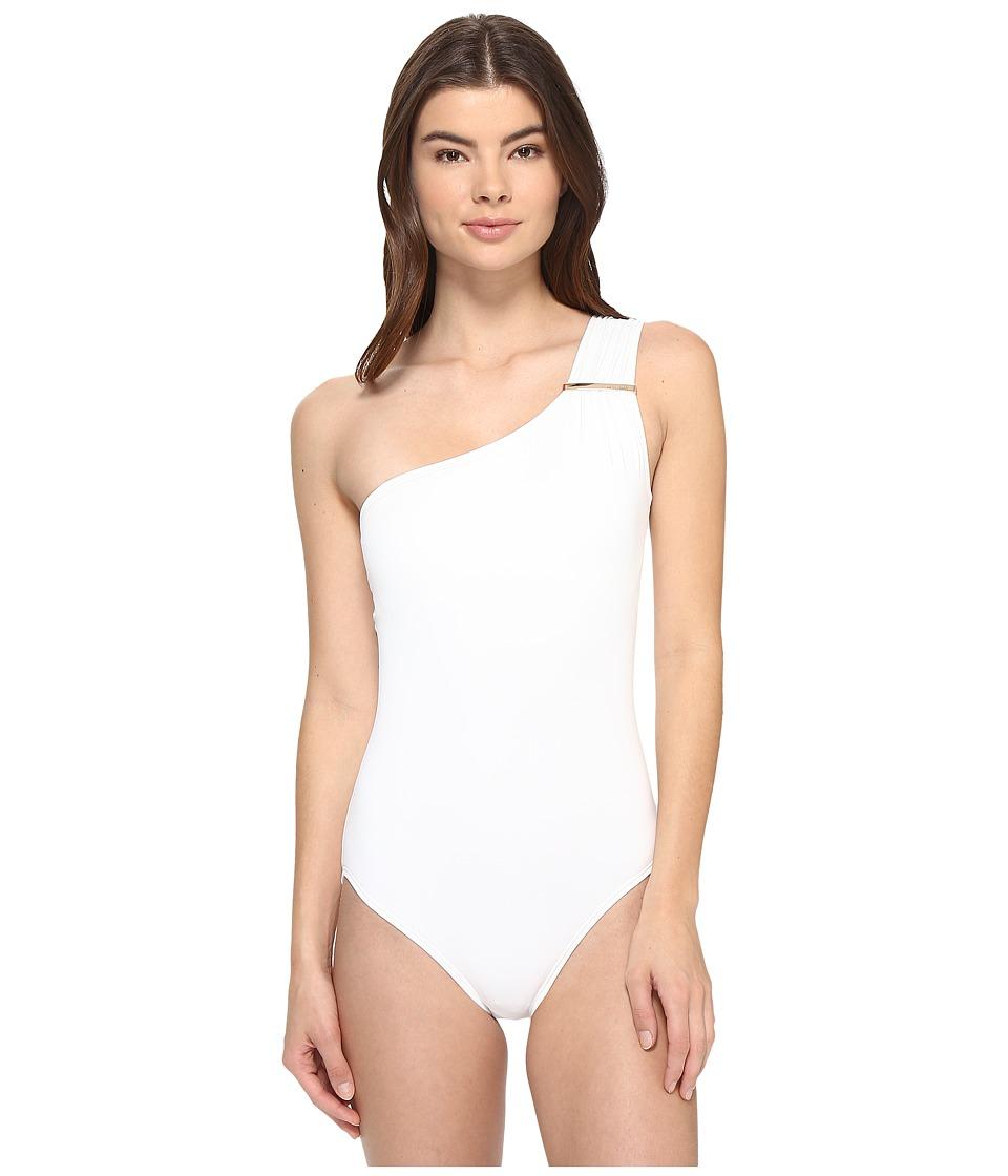 MICHAEL Michael Kors - Villa Del Mar Logo Bar One-Shoulder One-Piece (White) Women's Swimsuits One Piece