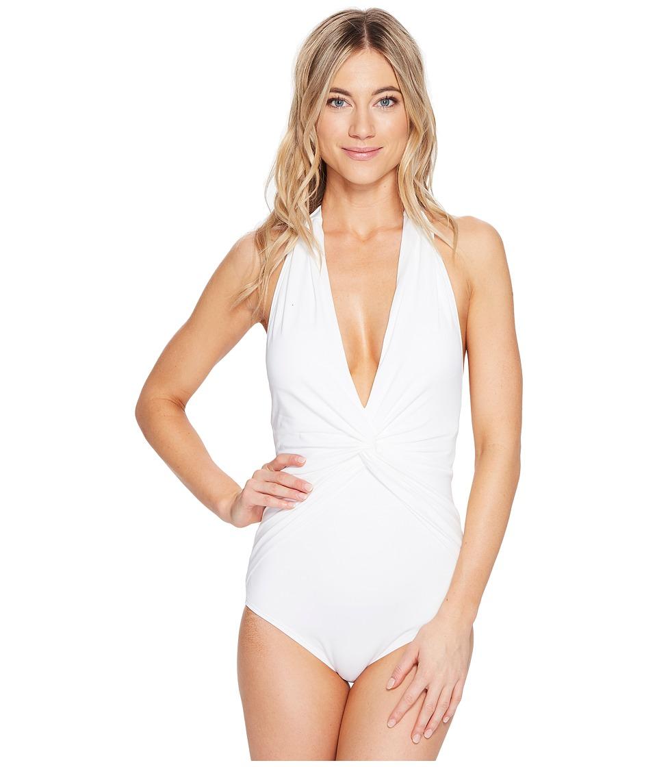 MICHAEL Michael Kors - Villa Del Mar Deep V-Twist Halter One-Piece (White) Women's Swimsuits One Piece