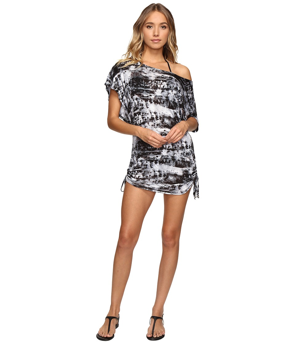 Lucky Brand - Global Tie-Dye Side Shirred Tunic Cover-Up (Black) Women's Swimwear