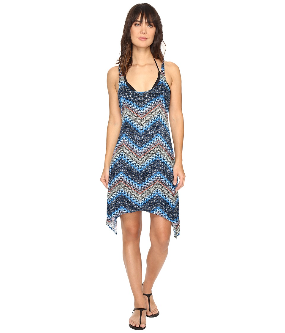 Lucky Brand - Nomad Chevron Shark Bite Dress Cover-Up (Indigo) Women's Swimwear
