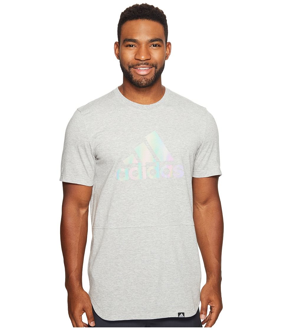 adidas - Badge of Sport Xeno Tee (Medium Grey Heather/Iridescent) Men's T Shirt