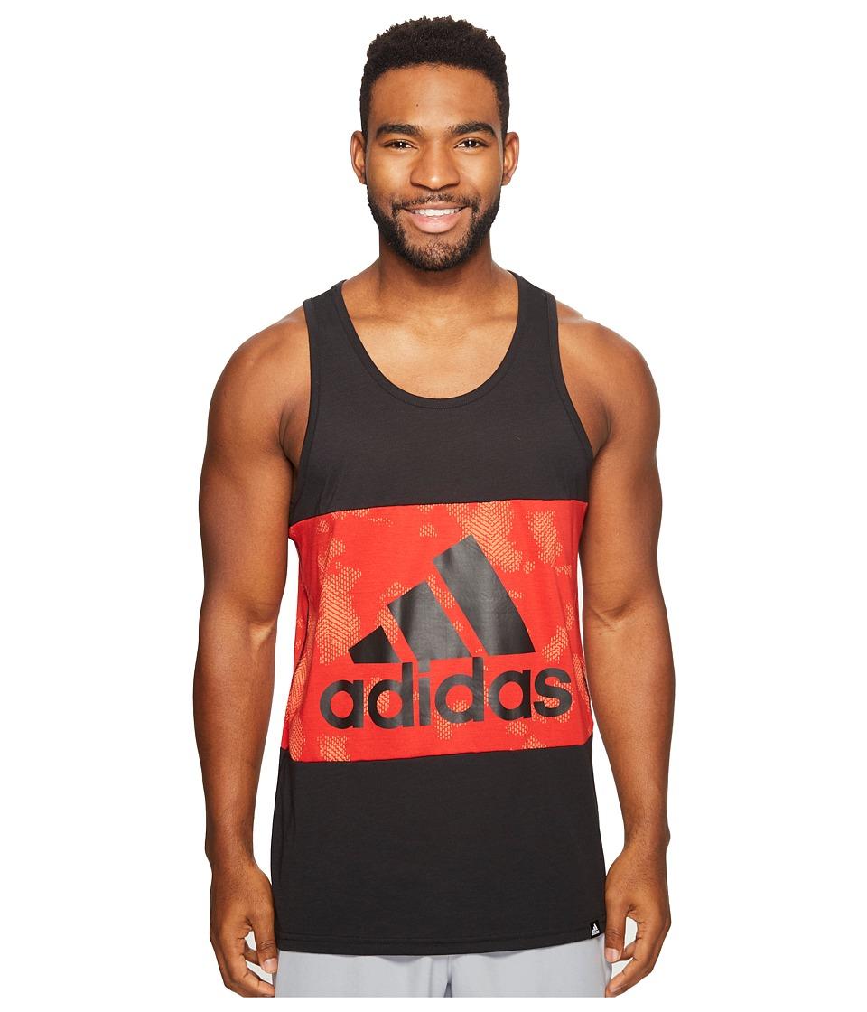 adidas - Three Block Tank Top (Black/Scarlet/Black) Men's Sleeveless