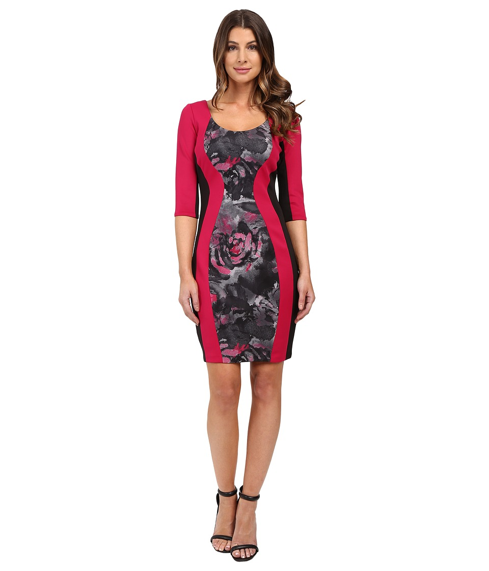 Sangria - Elbow Sleeve Printed Sheath (Multi) Women's Dress